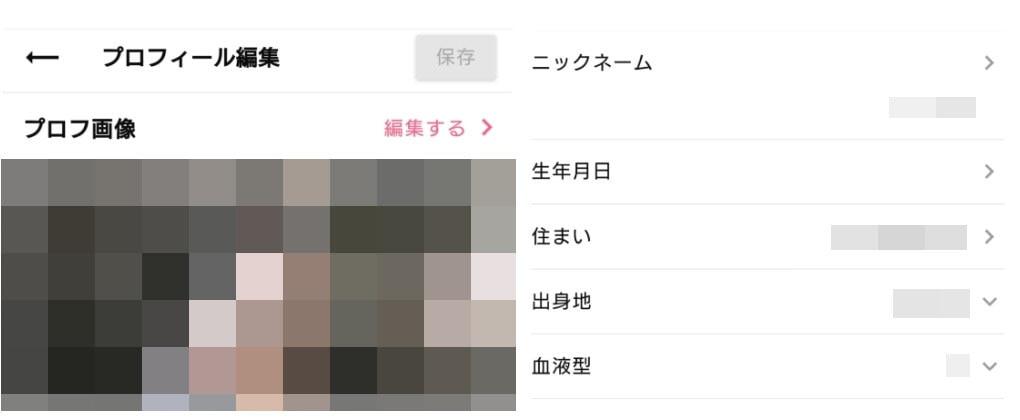 ワクワクメール プロフィール編集画面